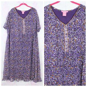 Woman Within 22W Purple Abstract Floral Dress Plus